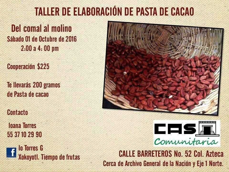 Taller de elaboración de pasta artesanal de cacao.