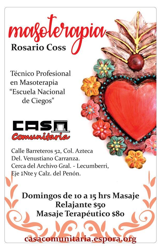 Masoterapia, con Rosario Coss.