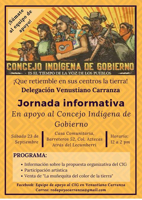 Jornada informativa en apoyo al Concejo Indígena de Gobierno.