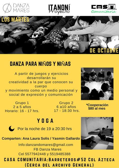 Danza para niños y niñas Yoga para adultos. Octubre